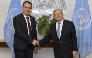 Le président de CGLU, Mohamed Boudra, se réunit avec le secrétaire général des Nations Unies pour évoquer la décennie de mise en œuvre et le 75e anniversaire de l'ONU