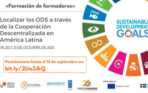 ¡Abiertas las inscripciones para la formación sobre ODS y Cooperación Descentralizada en América Latina!