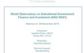 Webinaire DeLoG: Observatoire mondial des finances et de l'investissement des collectivités territoriales