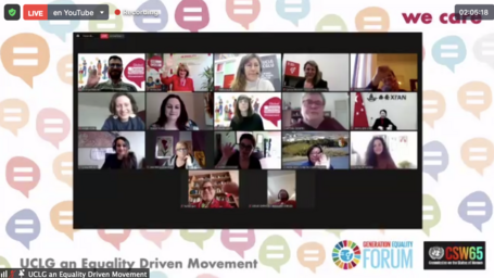 Gallery view of zoom of all the participants at the CSW65 session