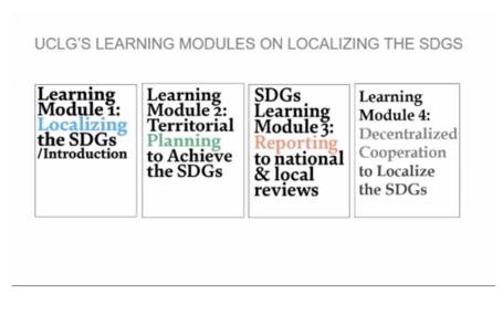 Image 1 : Couverture des quatre modules d'apprentissage sur la localisation des ODD: 1) Introduction, 2) Planification, 3) Rapports et 4) Coopération décentralisée